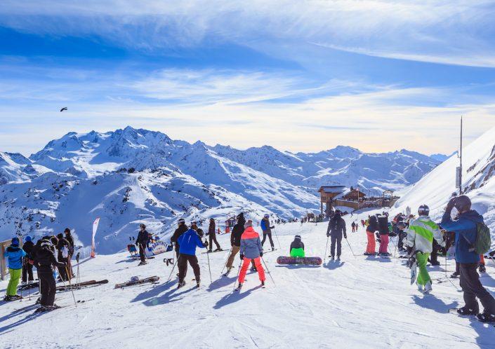 Courchevel slope in French Alps. Ski Resort Courchevel