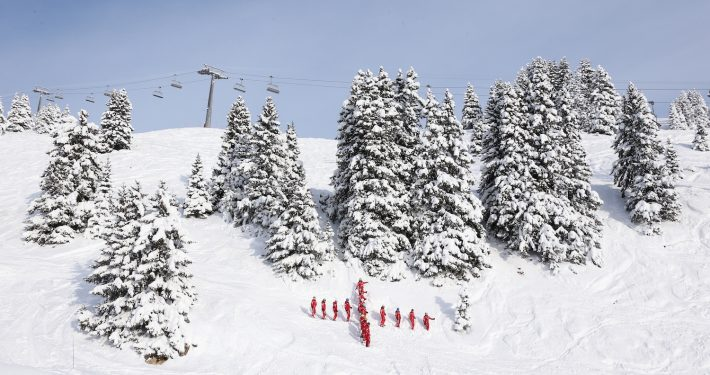 Red cross. Villars-gryon, Switzerland. Skipodium