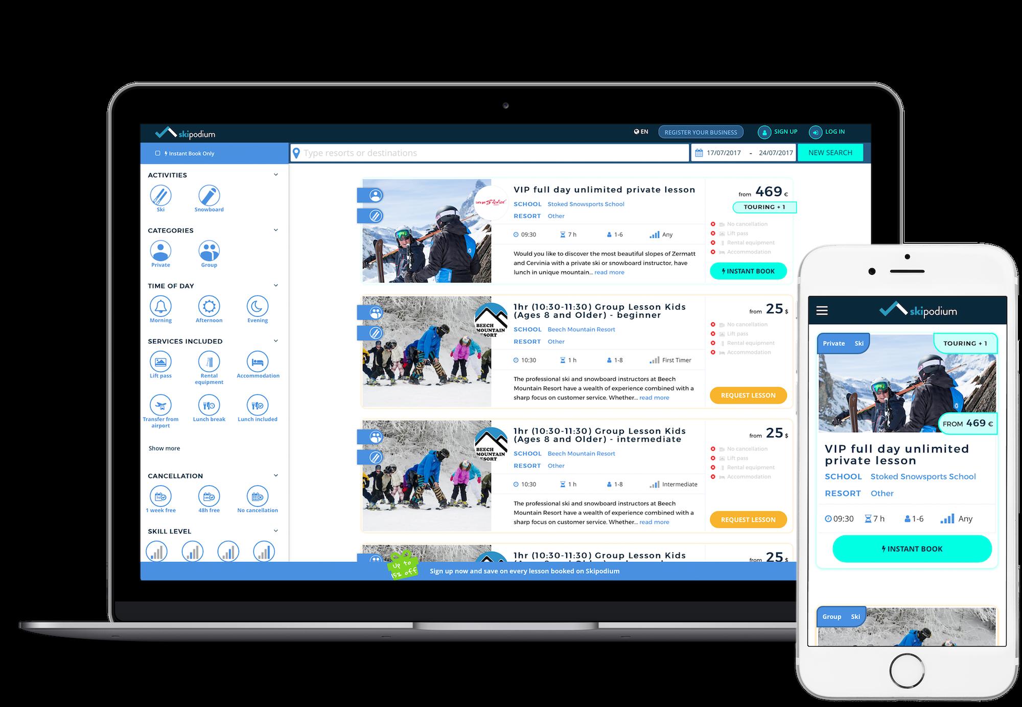 Skipodium, Mac, iPhone, book online, ski lessons, snowsports