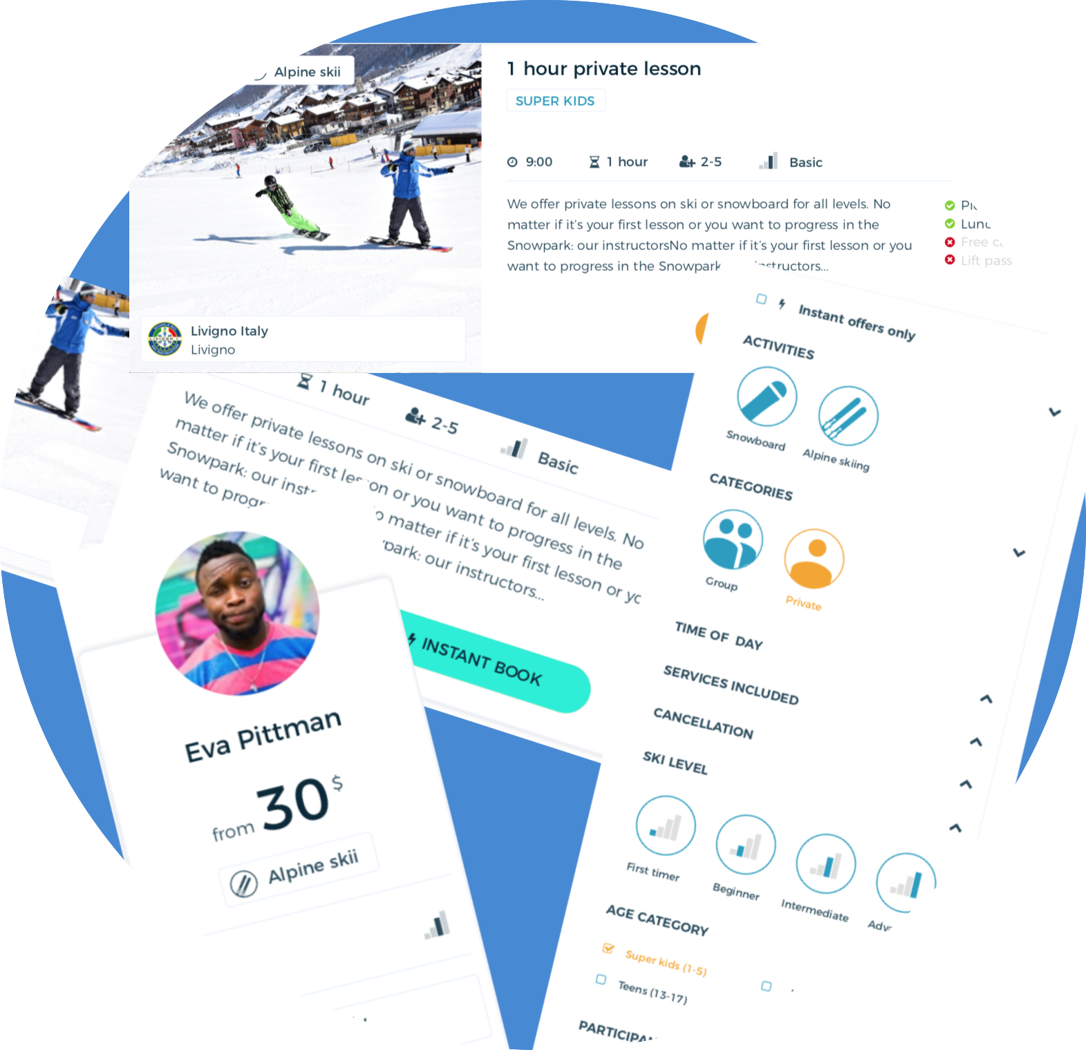 ski lessons, compare, marketplace