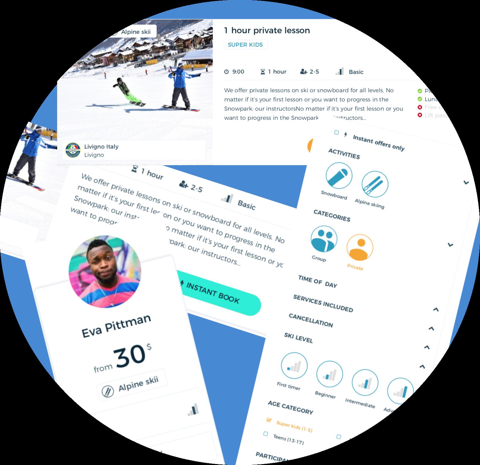 ski lessons, compare, marketplace
