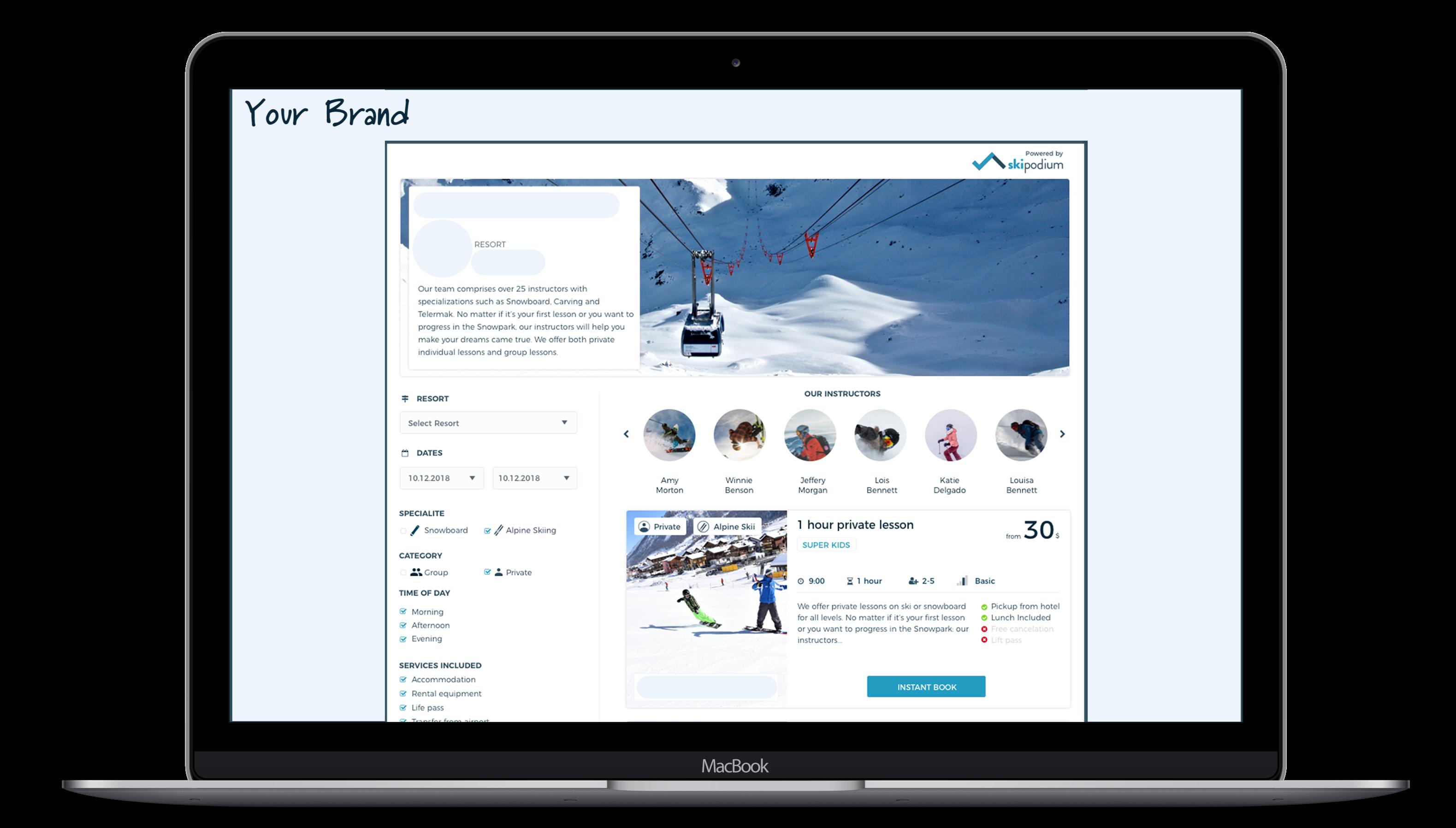Ski Brand, Skipodium, Ski resort, E-store,