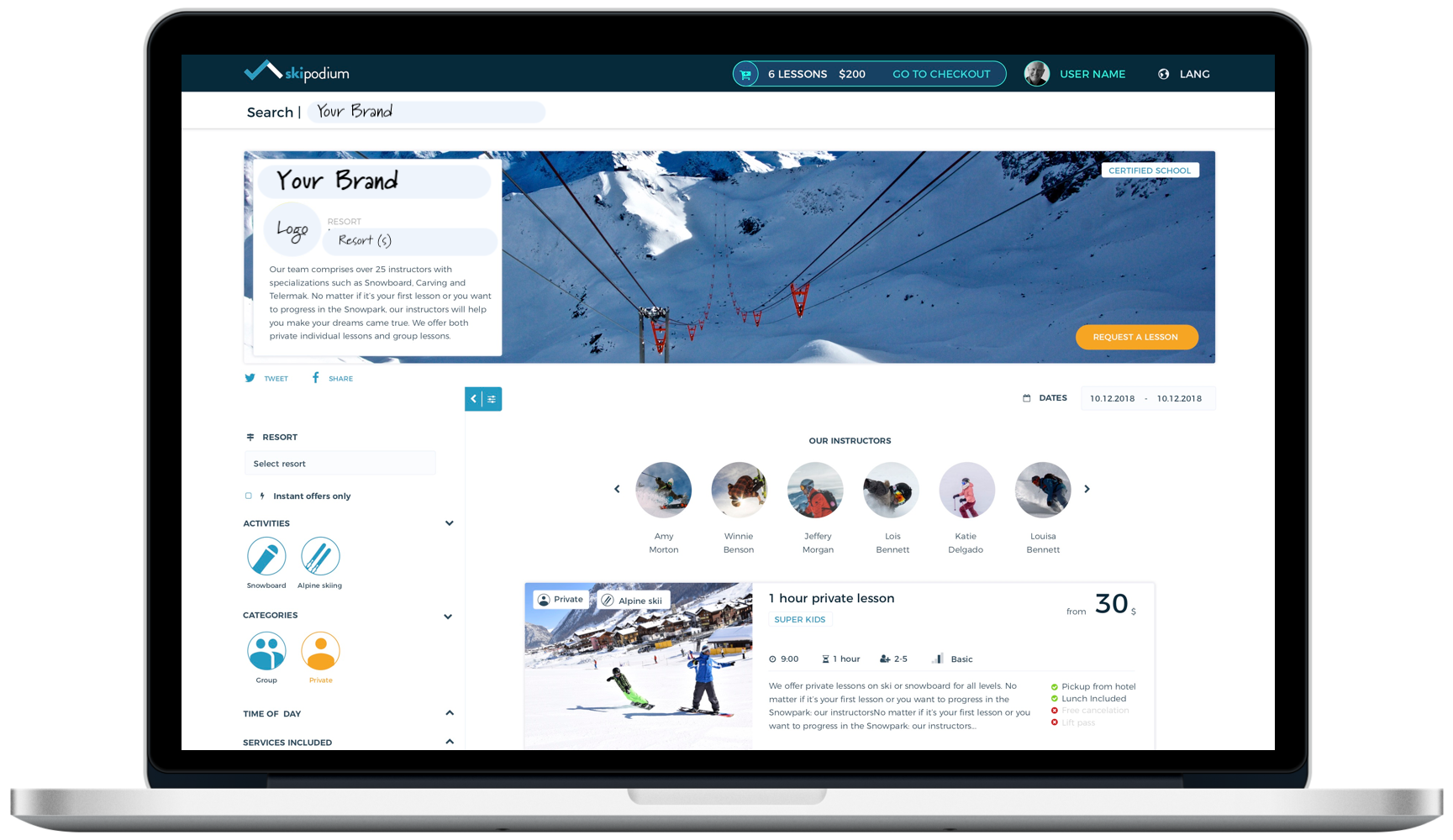 Ski and Snowaboard lessons, Online, Skipodium, Marketplace